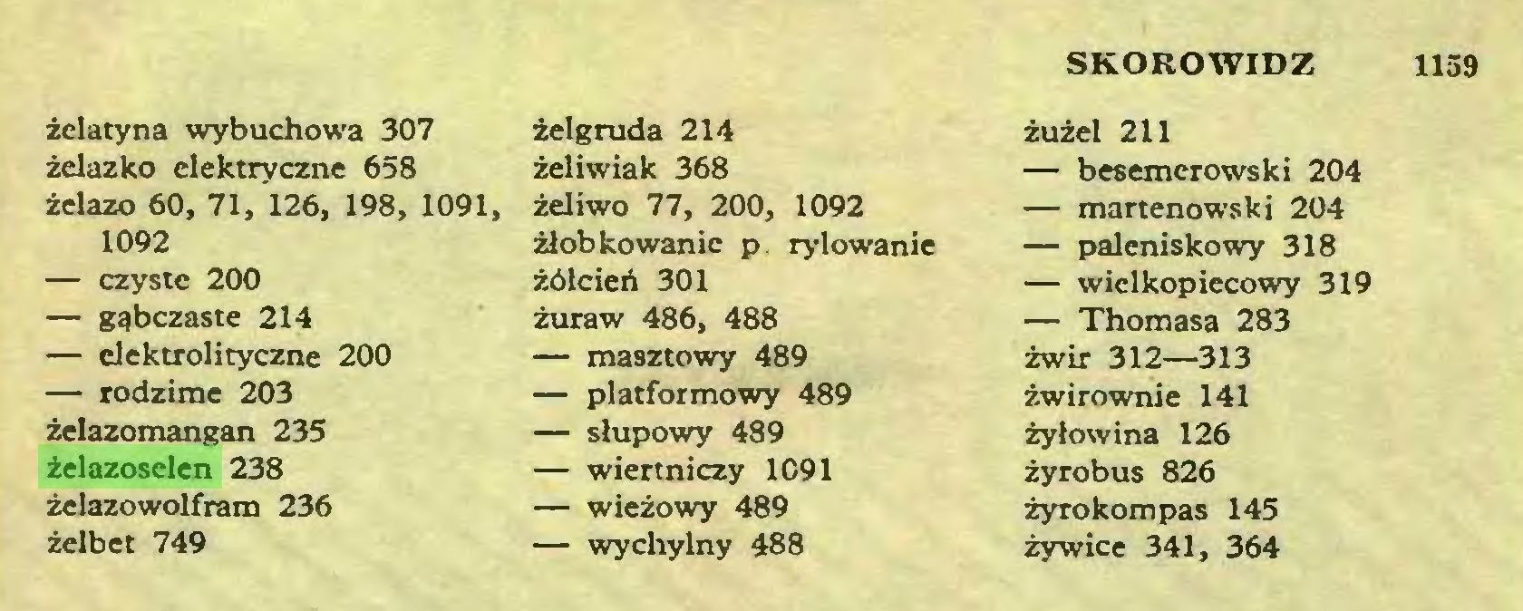 (...) SKOROWIDZ 1159 żelatyna wybuchowa 307 żelazko elektryczne 658 żelazo 60, 71, 126, 198, 1091, 1092 — czyste 200 — gąbczaste 214 — elektrolityczne 200 — rodzime 203 żelazomangan 235 żelazoselen 238 żelazowolfram 236 żelbet 749 żelgruda 214 żeliwiak 368 żeliwo 77, 200, 1092 żłobkowanie p rylowanie żółcień 301 żuraw 486, 488 — masztowy 489 — platformowy 489 — słupowy 489 — wiertniczy 1091 — wieżowy 489 — wychylny 488 żużel 211 — besemerowski 204 — martenowski 204 — paleniskowy 318 — wielkopiecowy 319 — Thomasa 283 żwir 312—313 żwirownie 141 żyłowina 126 żyrobus 826 żyro kom pas 145 żywice 341, 364...