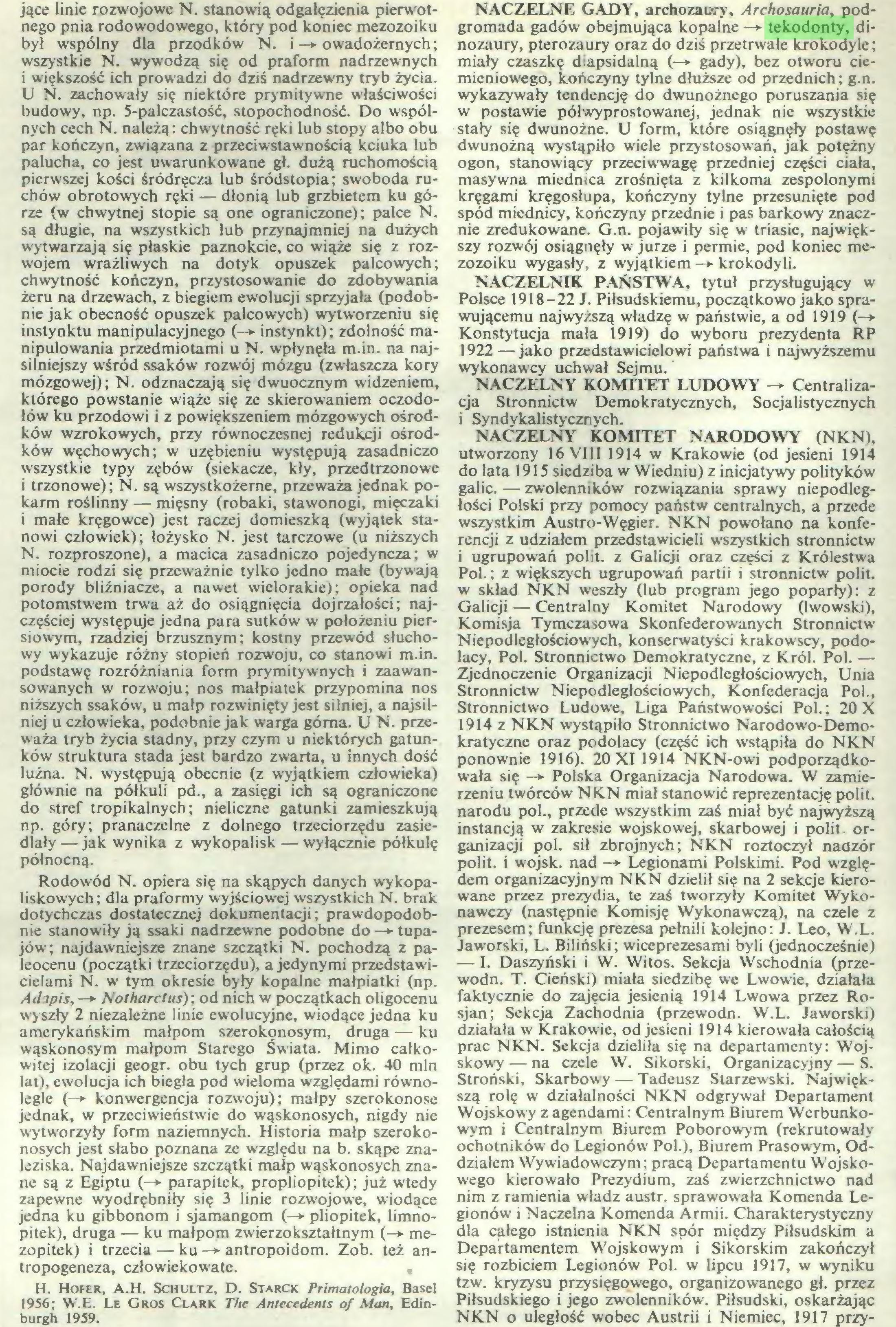 (...) H. Hofer, A.H. Schultz, D. StarCK Primatologia, Basel 1956; W.E. Le Gros Clark The Antecedents of Man, Edinburgh 1959. NACZELNE GADY, archozau-.-y, Archosauria, podgromada gadów obejmująca kopalne —*• tekodonty, dinozaury, pterozaury oraz do dziś przetrwałe krokodyle; miały czaszkę diapsidalną (—*■ gady), bez otworu ciemieniowego, kończyny tylne dłuższe od przednich; g.n...