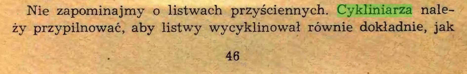 (...) Nie zapominajmy o listwach przyściennych. Cykliniarza należy przypilnować, aby listwy wycyklinował równie dokładnie, jak 46...