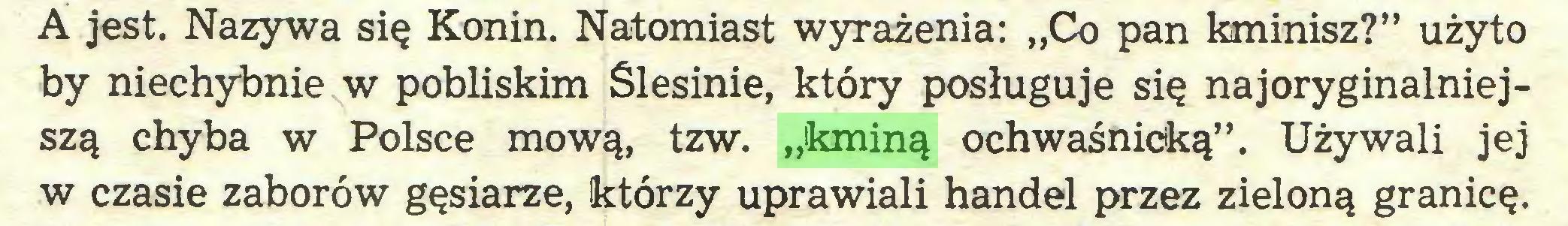 """(...) A jest. Nazywa się Konin. Natomiast wyrażenia: """"Co pan kminisz?"""" użyto by niechybnie w pobliskim Ślesinie, który posługuje się najoryginalniejszą chyba w Polsce mową, tzw. """"kminą ochwaśnicką"""". Używali jej w czasie zaborów gęsiarze, którzy uprawiali handel przez zieloną granicę..."""