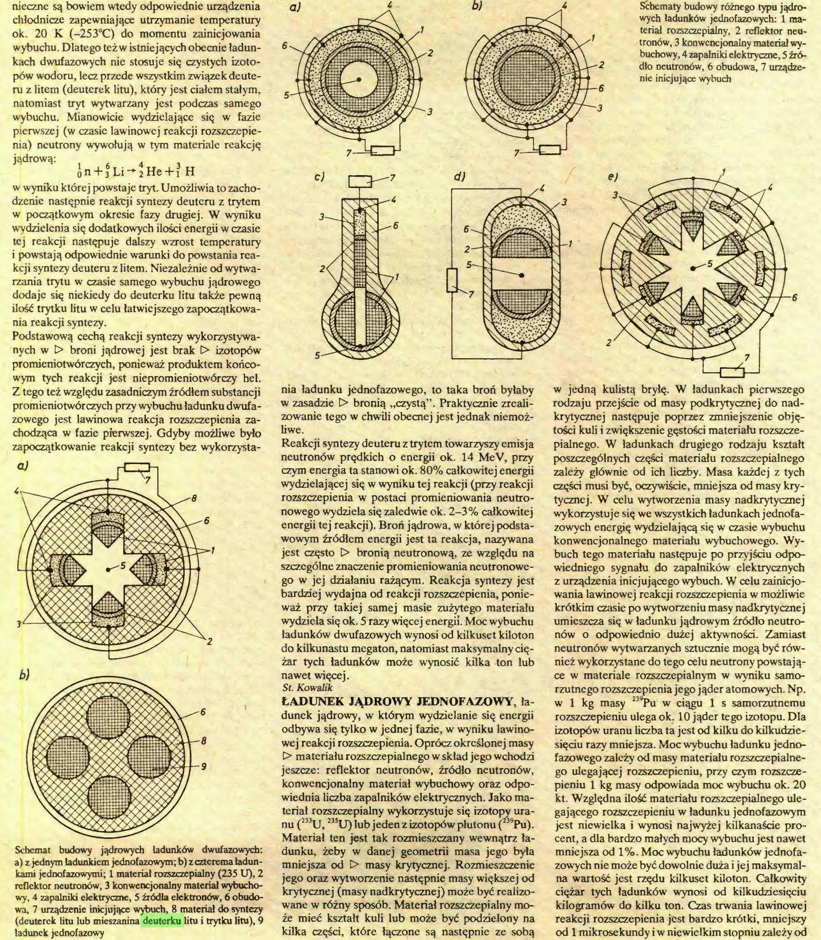 """(...) Schemat budowy jądrowych ładunków dwufazowych: a) z jednym ładunkiem jednofazowym; b) z czterema ładunkami jednofazowymi; 1 materiał rozszczepialny (235 U), 2 reflektor neutronów, 3 konwencjonalny materiał wybuchowy, 4 zapalniki elektryczne, 5 źródła elektronów, 6 obudowa, 7 urządzenie inicjujące wybuch, 8 materiał do syntezy (deuterek litu łub mieszanina deuterku litu i trytku litu), 9 ładunek jednofazowy Schematy budowy różnego typu jądrowych ładunków jednofazowych: 1 materiał rozszczepialny, 2 reflektor neutronów, 3 konwencjonalny materiał wybuchowy, 4 zapalniki elektryczne, 5 źródło neutronów, 6 obudowa, 7 urządzenie inicjujące wybuch nia ładunku jednofazowego, to taka broń byłaby w zasadzie t> bronią """"czystą"""". Praktycznie zreali..."""