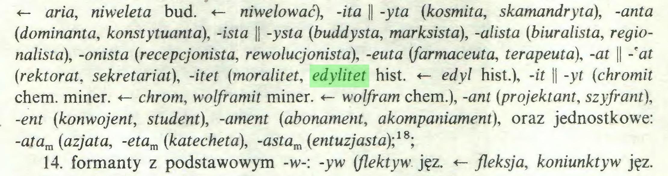 (...) <- aria, niweleta bud. <- niwelować), -ita || -yta (kosmita, skamandryta), -anta (dominanta, konstytuanta), -ista || -ysta (buddysta, marksista), -alista (biuralista, regionalista), -onista (recepcjonista, rewolucjonista), -euta (farmaceuta, terapeuta), -at || - at (rektorat, sekretariat), -itet (moralitet, edylitet hist. «- edyl hist.), -it || -yt (chromit chem. miner. «- chrom, wolframit miner. <- wolfram chem.), -ant (projektant, szyfrant), -ent (konwojent, student), -ament (abonament, akompaniament), oraz jednostkowe: -atam (azjata, -etam (katecheta), -astam (entuzjasta)',18; 14. formanty z podstawowym -w-: -yw (flektyw jęz. <- fleksja, koniunktyw jęz...