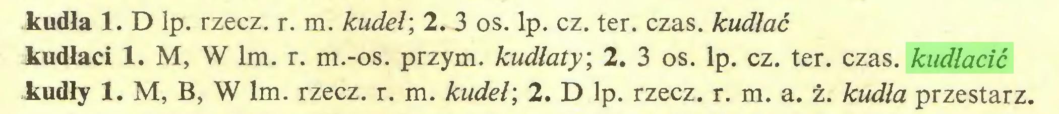 (...) kudła 1. D lp. rzecz. r. m. kudeł', 2. 3 os. lp. cz. ter. czas. kudłać kudłaci 1. M, W lm. r. m.-os. przym. kudłaty, 2. 3 os. lp. cz. ter. czas. kudłacić kudły 1. M, B, W lm. rzecz. r. m. kudeł', 2. D lp. rzecz. r. m. a. ż. kudła przestarz...