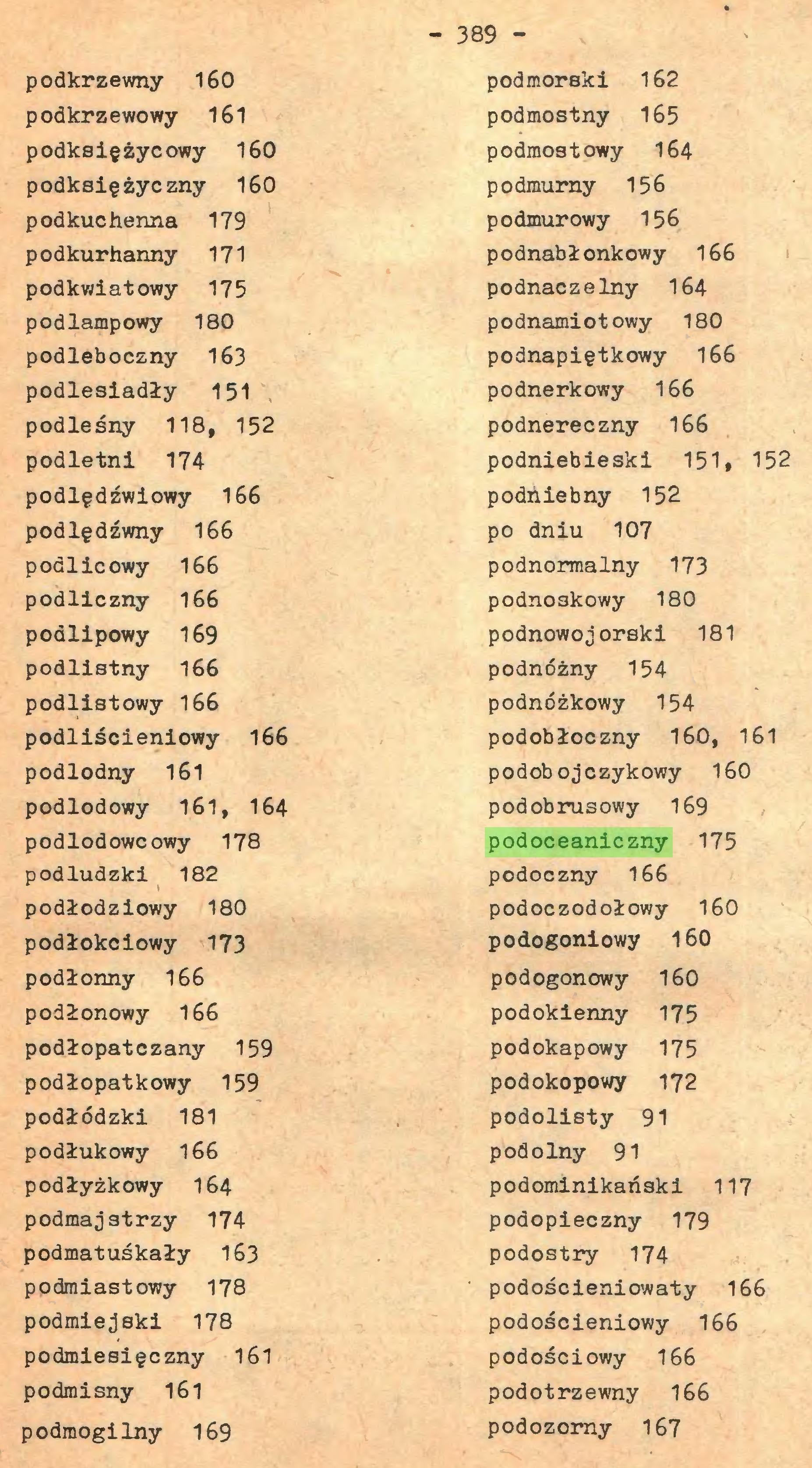 (...) - 389 podkrzewny 160 podkrzewowy 161 podksiężycowy 160 podksiężyczny 160 podkućhenna 179 podkurhanny 171 podkwiatowy 175 podlampowy 180 podleboczny 163 podlesiadły 151 podleśny 118, 152 podletni 174 podlędźwiowy 166 podlędźwny 166 podlicowy 166 podliczny 166 podlipowy 169 podlistny 166 podlistowy 166 podliścieniowy 166 podlodny 161 podlodowy 161, 164 podlodowcowy 178 podludzki 182 podłodziowy 180 podłokciowy 173 podłonny 166 podłonowy 166 podłopatczany 159 podłopatkowy 159 podłódzki 181 podłukowy 166 podłyżkowy 164 podmajstrzy 174 podmatuśkały 163 podmiastowy 178 podmiejski 178 podmiesięczny 161 podmisny 161 podmogilny 169 podmorski 162 podmostny 165 podmostowy 164 podmumy 156 podmurowy 156 podnabłonkowy 166 podnaczelny 164 podnamiotowy 180 podnapiętkowy 166 podnerkowy 166 podnereczny 166 podniebieski 151# 152 podńiebny 152 po dniu 107 podnormalny 173 podno3kowy 180 podnowojorski 181 podnóżny 154 podnóżkowy 154 podobłoczny 160, 161 podobojczykowy 160 podobrusowy 169 podoceaniczny 175 podoczny 166 podoczodołowy 160 podogoniowy 160 podogonowy 160 podokienny 175 podokapowy 175 podokopowy 172 podolisty 91 podolny 91 podominikański 117 podopieczny 179 podostry 174 podościeniowaty 166 podościeniowy 166 podościowy 166 podotrzewny 166 podozomy 167...