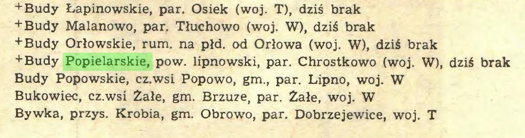(...) +Budy Łapinowskie, par. Osiek (woj. T), dziś brak +Budy Malanowo, par. Tłuchowo (woj. W), dziś brak +Budy Orłowskie, rum. na płd. od Orłowa (woj. W), dziś brak +Budy Popielarskie, pow. lipnowski, par. Chrostkowo (woj. W), dziś brak Budy Popowskie, cz.wsi Popowo, gm., par. Lipno, woj. W Bukowiec, cz.wsi Żałe, gm. Brzuze, par. Żałe, woj. W Bywka, przys. Krobia, gm. Obrowo, par. Dobrzejewice, woj. T...