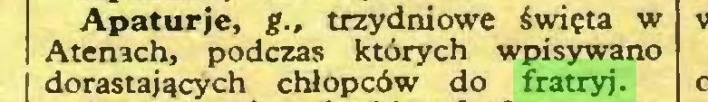 (...) Apaturje, g., trzydniowe święta w Atenach, podczas których wpisywano dorastających chłopców do fratryj...