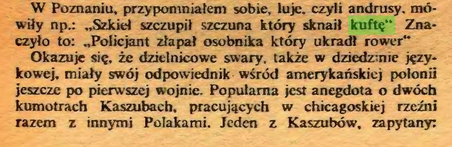 """(...) W Poznaniu, przypomniałem sobie, luje. czyli andrusy. mówiły np.: """"Szkieł szczupił szczuna który sknaił kuftę"""" Znaczyło to: """"Policjant złapał osobnika który ukradł rower"""" Okazuje się, że dzielnicowe swary, także w dziedzinie językowej, miały swój odpowiednik wśród amerykańskiej polonii jeszcze po pierwszej wojnie. Popularna jest anegdota o dwóch kumotrach Kaszubach, pracujących w chicagoskiej rzeźni razem z innymi Polakami. Jeden z Kaszubów, zapytany:..."""
