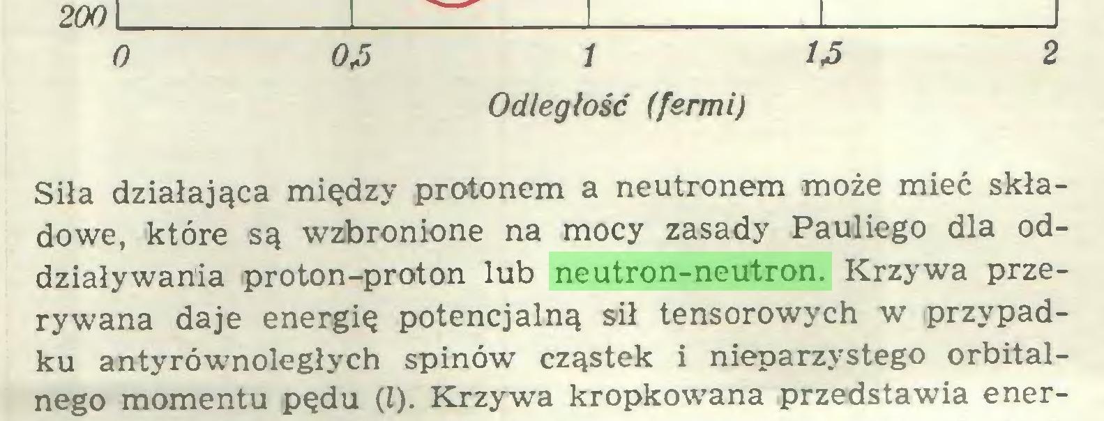 (...) O 0J5 i 1J5 2 Odległość (fermi) Siła działająca między protonem a neutronem może mieć składowe, które są wzbronione na mocy zasady Pauliego dla oddziaływania proton-proton lub neutron-neutron. Krzywa przerywana daje energię potencjalną sił tensorowych w przypadku antyrównoległych spinów cząstek i nieparzystego orbitalnego momentu pędu (l). Krzywa kropkowana przedstawia ener...