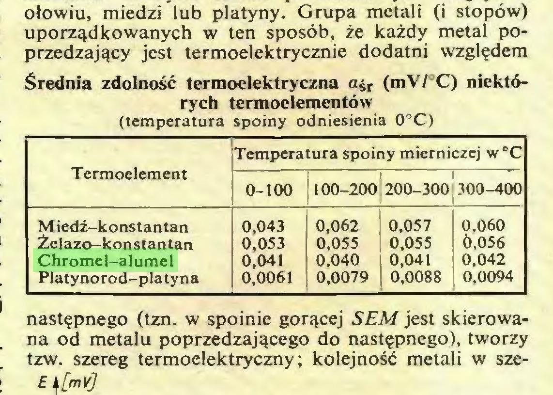 """(...) ołowiu, miedzi lub platyny. Grupa metali (i stopów) uporządkowanych w ten sposób, że każdy metal poprzedzający jest termoelektrycznie dodatni względem Średnia zdolność termoelektryczna ajr (mV/ C) niektórych termoelementów (temperatura spoiny odniesienia 0°C) Temperatura spoiny mierniczej w""""C Termoelement 0-100 100-200 200-300 300-400 M iedź-konstantan 0,043 0,062 0,057 0,060 Żelazo-konstantan 0,053 0,055 0,055 0,056 Chromel-alumel 0,041 0,040 0,041 0.042 Platynorod-platyna 0,0061 0,0079 0,0088 0.0094 następnego (tzn. w spoinie gorącej SEM jest skierowana od metalu poprzedzającego do następnego), tworzy tzw. szereg termoelektryczny; kolejność metali w sze..."""