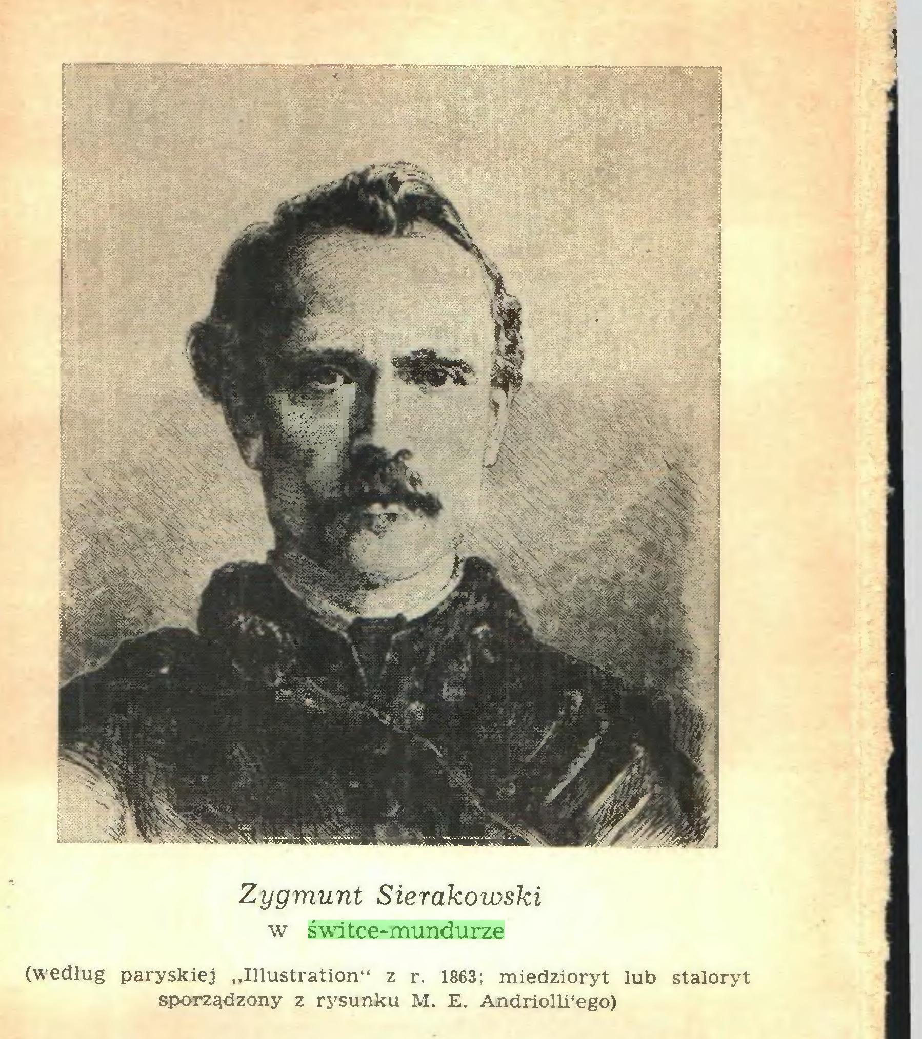 """(...) w świtce-mundurze (według paryskiej """"Illustration"""" z r. 1863; miedzioryt lub staloryt sporządzony z rysunku M. E. Andriolli'ego) 1..."""