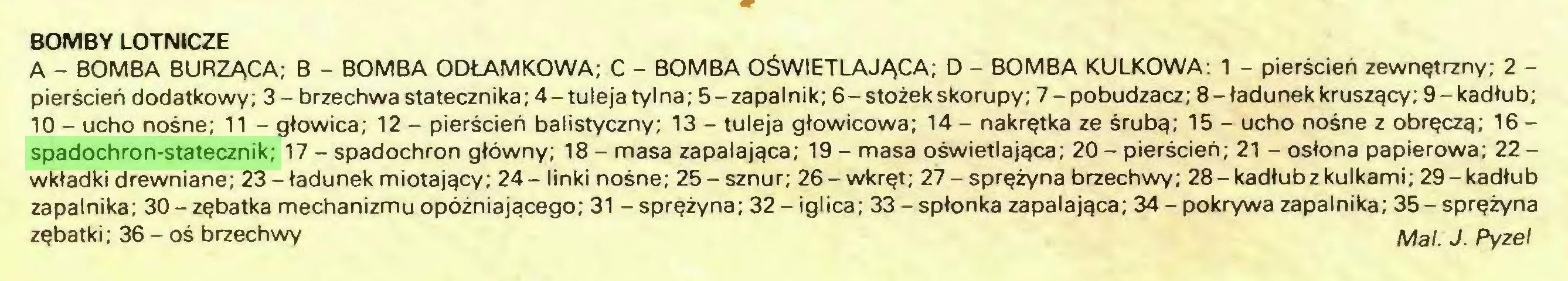 (...) BOMBY LOTNICZE A - BOMBA BURZĄCA; B - BOMBA ODŁAMKOWA; C - BOMBA OŚWIETLAJĄCA; D - BOMBA KULKOWA: 1 - pierścień zewnętrzny; 2 pierścień dodatkowy; 3- brzechwa statecznika; 4-tuleja tylna; 5-zapalnik; 6-stożek skorupy; 7-pobudzacz; 8-ładunek kruszący; 9-kadłub; 10 - ucho nośne; 11 - głowica; 12 - pierścień balistyczny; 13 - tuleja głowicowa; 14 - nakrętka ze śrubą; 15 - ucho nośne z obręczą; 16 spadochron-statecznik; 17 - spadochron główny; 18 - masa zapalająca; 19 - masa oświetlająca; 20 - pierścień; 21 - osłona papierowa; 22 wkładki drewniane; 23-ładunek miotający; 24- linki nośne; 25-sznur; 26-wkręt; 27-sprężyna brzechwy; 28-kadłub z kulkami; 29-kadłub zapalnika; 30-zębatka mechanizmu opóźniającego; 31 - sprężyna; 32 - iglica; 33 - spłonka zapalająca; 34- pokrywa zapalnika; 35-sprężyna zębatki; 36 - oś brzechwy Mai. J. Pyzę!...