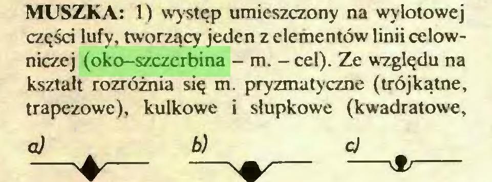 (...) MUSZKA: 1) występ umieszczony na wylotowej części lufy, tworzący jeden z elementów linii celowniczej (oko-szczerbina - m. - cel). Ze względu na kształt rozróżnia się m. pryzmatyczne (trójkątne, trapezowe), kulkowe i słupkowe (kwadratowe, a) b) cj...