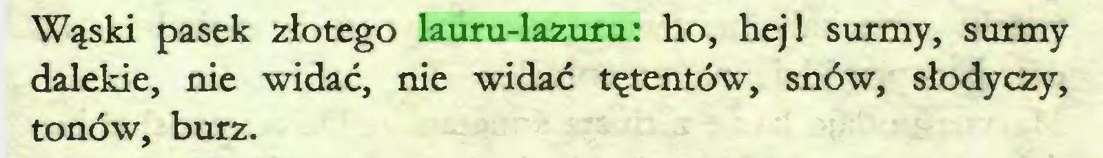 (...) Wąski pasek złotego lauru-lazuru: ho, hej! surmy, surmy dalekie, nie widać, nie widać tętentów, snów, słodyczy, tonów, burz...