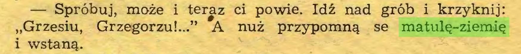 """(...) — Spróbuj, może i teraz ci powie. Idź nad grób i krzyknij: """"Grzesiu, Grzegorzu!..."""" A nuż przypomną se matulę-ziemię i wstaną..."""