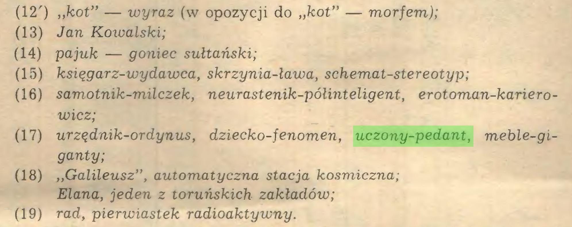 """(...) (12') """"kot"""" — wyraz (w opozycji do """"kot"""" — morfem); (13) Jan Koiualski; (14) pa juk — goniec sułtański; (15) księgarz-wydawca, skrzynia-ława, schemat-stereotyp; (16) samotnik-milczek, neurastenik-półinteligent, erotoman-karierowicz; (17) urzędnik-ordynus, dziecko-fenomen, uczony-pedant, meble-giganty; (18) """"Galileusz"""", automatyczna stacja kosmiczna; Elana, jeden z toruńskich zakładów; (19) rad, pierwiastek radioaktywny..."""