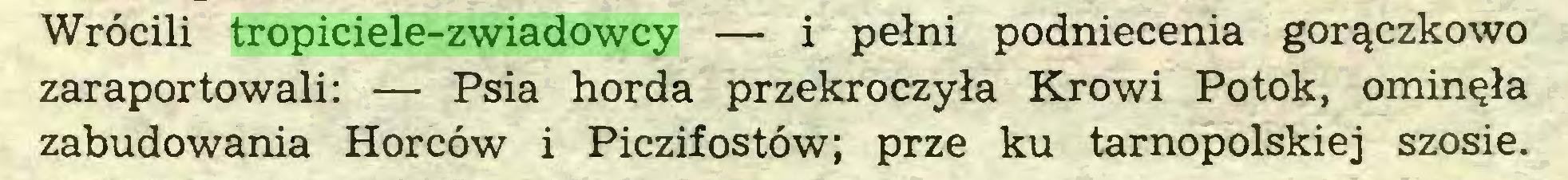 (...) Wrócili tropiciele-zwiadowcy — i pełni podniecenia gorączkowo zaraportowali: — Psia horda przekroczyła Krowi Potok, ominęła zabudowania Horców i Piczifostów; prze ku tarnopolskiej szosie...