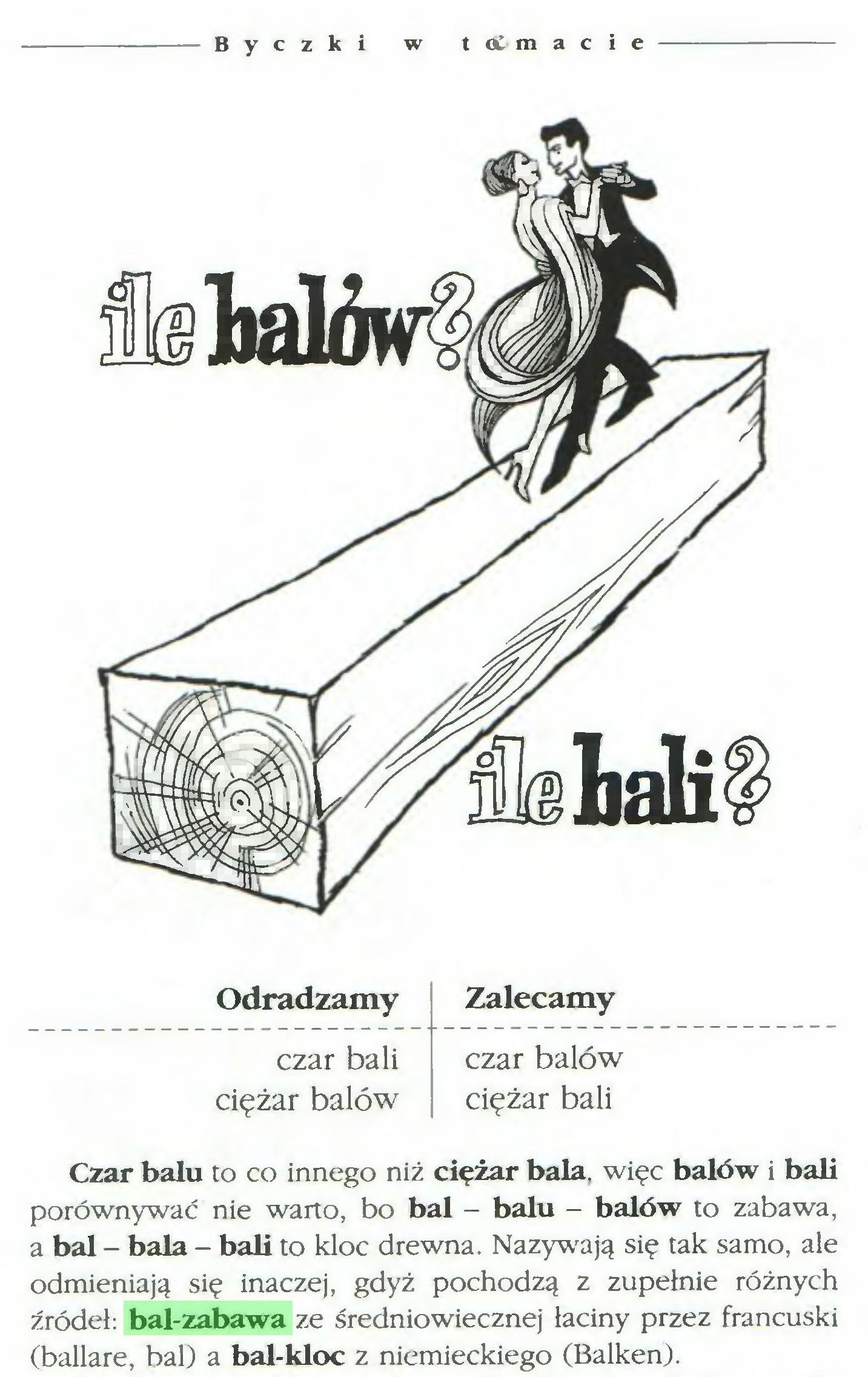 (...) Byczki w t Ol m a c i e Odradzamy Zalecamy czar bali czar balów ciężar balów ciężar bali Czar balu to co innego niż ciężar bała, więc balów i bali porównywać nie warto, bo bal - balu - balów to zabawa, a bal - bała - bali to kloc drewna. Nazywają się tak samo, ale odmieniają się inaczej, gdyż pochodzą z zupełnie różnych źródeł: bal-zabawa ze średniowiecznej łaciny przez francuski (ballare, bal) a bal-kloc z niemieckiego (Balken)...