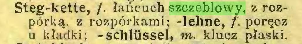 (...) Steg-kette, /. łańcuch szczeblowy, z rozpórką. z rozporkami; -lehne, f. poręcz u kładki; -schlüssel, tn. klucz płaski...