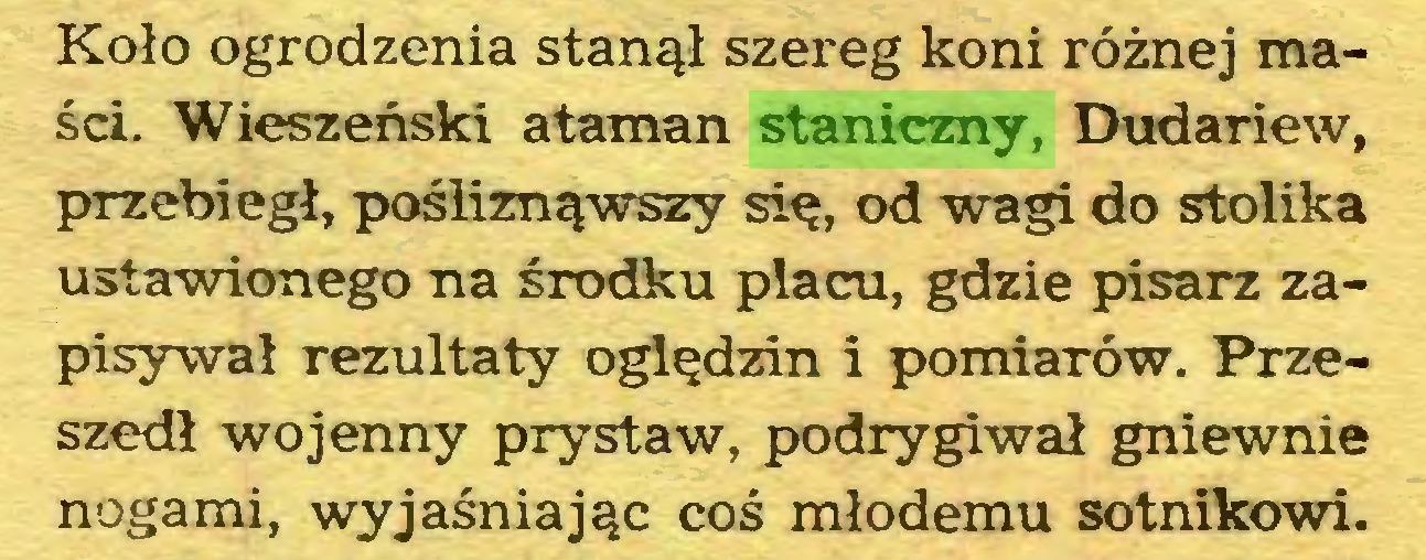 (...) Koło ogrodzenia stanął szereg koni różnej maści. Wieszeński ataman staniczny, Dudariew, przebiegł, pośliznąwszy się, od wagi do stolika ustawionego na środku placu, gdzie pisarz zapisywał rezultaty oględzin i pomiarów. Przeszedł wojenny prystaw, podrygiwał gniewnie nogami, wyjaśniając coś młodemu sotnikowi...