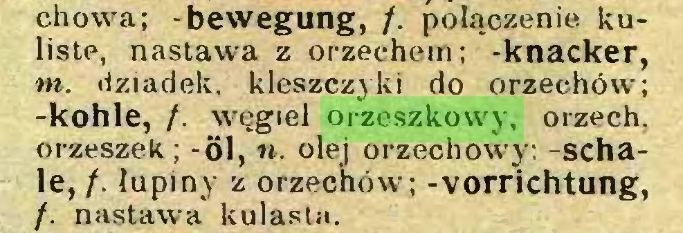 (...) chowa; -bewegung, /. połączenie kuliste, nastawa z orzechem; -knacker, tn. dziadek, kleszczyki do orzechów; -kohle, /. węgiel orzeszkowy, orzech, orzeszek; -öl, ». olej orzechowy; -schale, /. łupiny z orzechów; -Vorrichtung, /. nastawa kulasta...