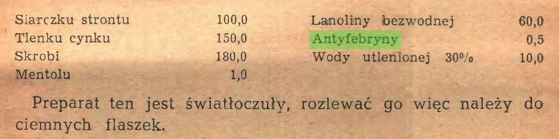 (...) Siarczku strontu 100,0 Lanoliny bezwodnej 60,0 Tlenku cynku 150,0 Antyfebryny 0,5 Skrobi 180,0 Wody utlenionej 30% 10,0 Mentolu 1,0 Preparat ten jest światłoczuły, rozlewać go więc należy do ciemnych flaszek...