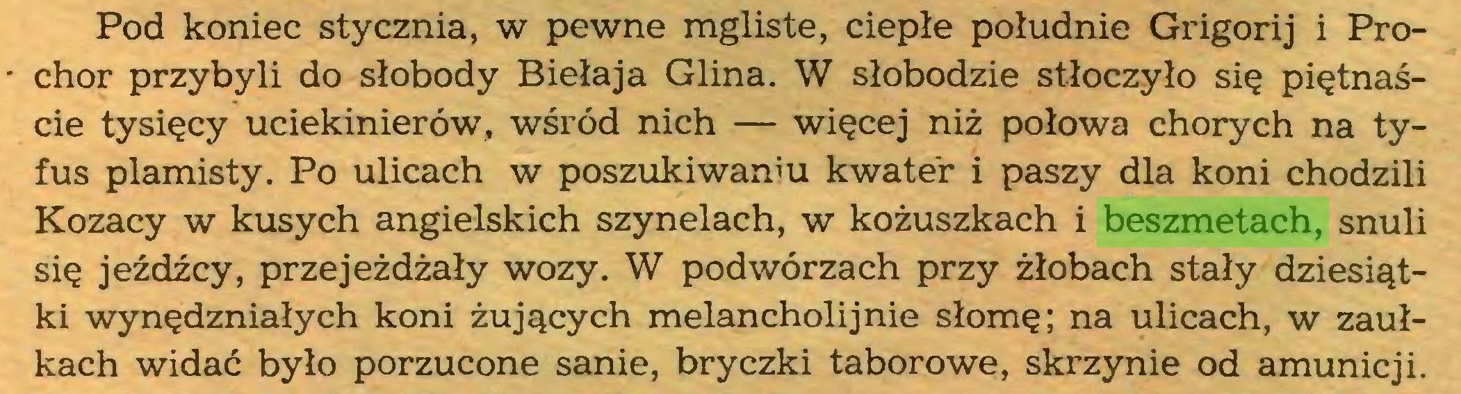 (...) Pod koniec stycznia, w pewne mgliste, ciepłe południe Grigorij i Prochor przybyli do słobody Biełaja Glina. W słobodzie stłoczyło się piętnaście tysięcy uciekinierów, wśród nich — więcej niż połowa chorych na tyfus plamisty. Po ulicach w poszukiwaniu kwater i paszy dla koni chodzili Kozacy w kusych angielskich szynelach, w kożuszkach i beszmetach, snuli się jeźdźcy, przejeżdżały wozy. W podwórzach przy żłobach stały dziesiątki wynędzniałych koni żujących melancholijnie słomę; na ulicach, w zaułkach widać było porzucone sanie, bryczki taborowe, skrzynie od amunicji...