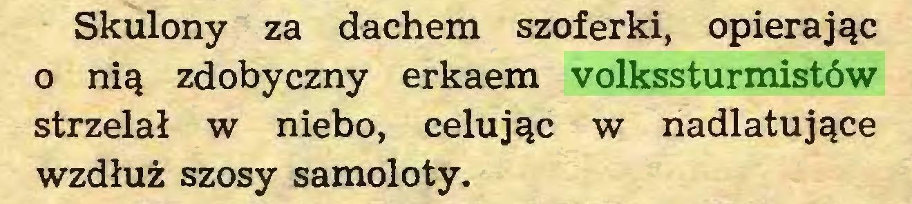 (...) Skulony za dachem szoferki, opierając o nią zdobyczny erkaem volkssturmistów strzelał w niebo, celując w nadlatujące wzdłuż szosy samoloty...