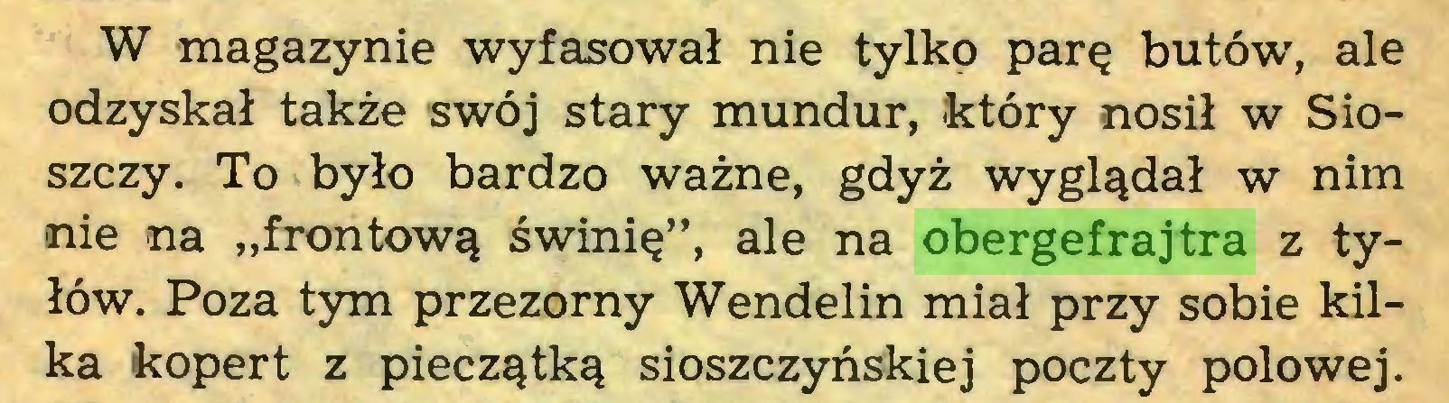 """(...) W magazynie wyfasował nie tylko parę butów, ale odzyskał także swój stary mundur, który nosił w Sioszczy. To było bardzo ważne, gdyż wyglądał w nim nie na """"frontową świnię"""", ale na obergefrajtra z tyłów. Poza tym przezorny Wendelin miał przy sobie kilka kopert z pieczątką sioszczyńskiej poczty połowęj..."""