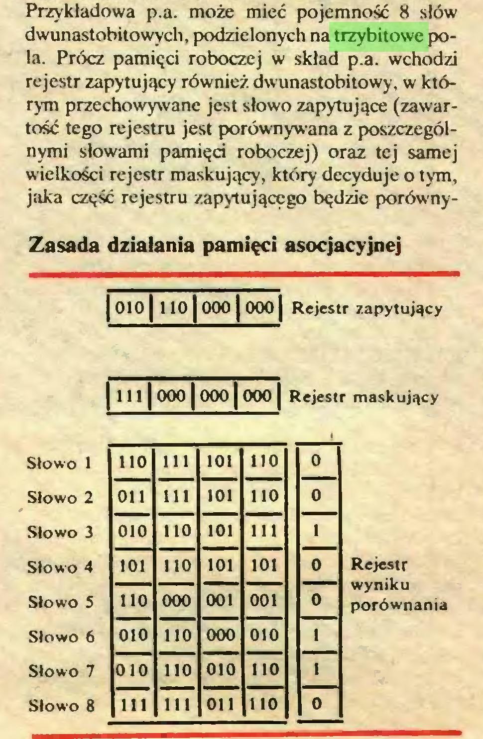 (...) Przykładowa p.a. może mieć pojemność 8 słów dwunastobitowych, podzielonych na trzybitowe pola. Prócz pamięci roboczej w skład p.a. wchodzi rejestr zapytujący również dwunastobitowy, w którym przechowywane jest słowo zapytujące (zawartość tego rejestru jest porównywana z poszczególnymi słowami pamięci roboczej) oraz tej samej wielkości rejestr maskujący, który decyduje o tym, jaka część rejestru zapytującego będzie porównyZasada działania pamięci asocjacyjnej | 0101 110 | 000 | 0001 Rejestr zapytujący j t II1000 j 000 j 000 [ Rejestr maskujący Słowo 1 110 111 101 110 Słowo 2 011 111 101 110 Słowo 3 010 110 101 111 Słowo 4 101 110 101 101 Słowo 5 110 000 001 001 Słowo 6 010 110 000 010 Słowo 7 010 110 010 110 Słowo 8 111 111 011 110 Rejestr wyniku porównania...