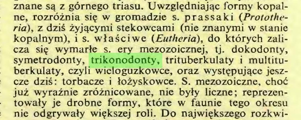 (...) znane są z górnego triasu. Uwzględniając formy kopalne, rozróżnia się w gromadzie s. prassaki (Protothería), z dziś żyjącymi stekowcami (nie znanymi w stanie kopalnym), i s. właściwe (Eutheria), do których zalicza się wymarłe s. ery mezozoicznej, tj. dokodonty, symetrodonty, trikonodonty, trituberkulaty i multituberkulaty, czyli wieloguzkowce, oraz występujące jeszcze dziś: torbacze i łożyskowce. S. mezozoiczne, choć już wyraźnie zróżnicowane, nie były liczne; reprezentowały je drobne formy, które w faunie tego okresu nie odgrywały większej roli. Do największego rozkwi...