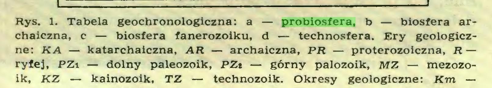 (...) Rys. 1. Tabela geochronologiczna: a — probiosfera, b — biosfera archaiczna, c — biosfera fanerozoiku, d — technosfera. Ery geologiczne: KA — katarchaiczna, AR — archaiczna, PR — proterozoiczna, R — ryfej, PZi — dolny paleozoik, PZt — górny palozoik, AfZ — mezozoik, KZ — kainozoik, TZ — technozoik. Okresy geologiczne: Km —...