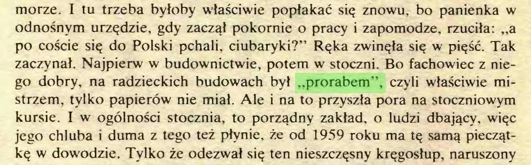 """(...) morze. I tu trzeba byłoby właściwie popłakać się znowu, bo panienka w odnośnym urzędzie, gdy zaczął pokornie o pracy i zapomodze, rzuciła: """"a po coście się do Polski pchali, ciubaryki?"""" Ręka zwinęła się w pięść. Tak zaczynał. Najpierw w budownictwie, potem w stoczni. Bo fachowiec z niego dobry, na radzieckich budowach był """"prorabem"""", czyli właściwie mistrzem, tylko papierów nie miał. Ale i na to przyszła pora na stoczniowym kursie. I w ogólności stocznia, to porządny zakład, o ludzi dbający, więc jego chluba i duma z tego też płynie, że od 1959 roku ma tę samą pieczątkę w dowodzie. Tylko że odezwał się ten nieszczęsny kręgosłup, naruszony..."""