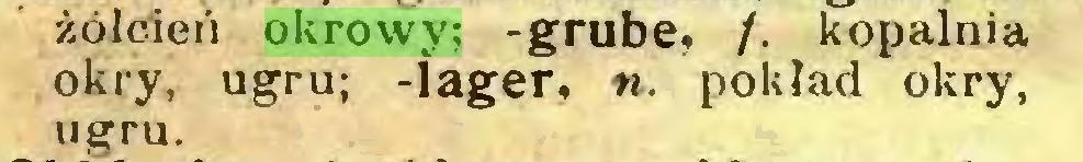 (...) żółcień okrowy; -grube, /. kopalnia okry, ugru; -lager, n. pokład okry, ugru...