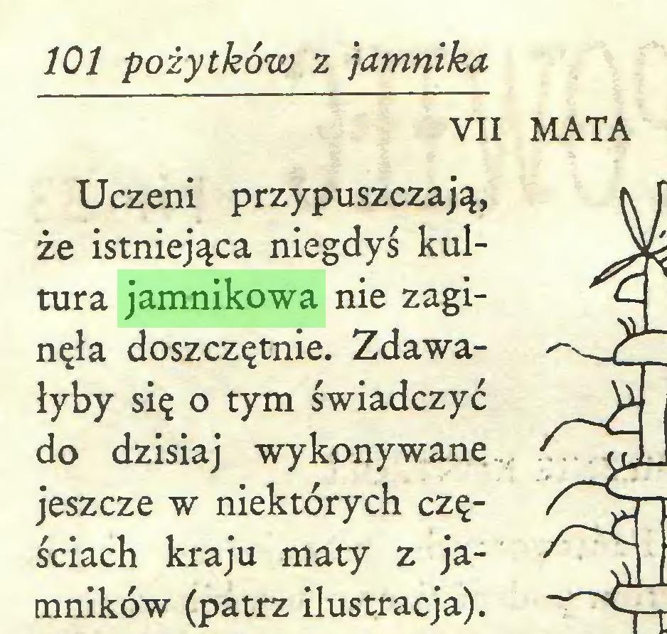 (...) 101 pożytków z jamnika VII MATA Uczeni przypuszczają, że istniejąca niegdyś kultura jamnikowa nie zaginęła doszczętnie. Zdawałyby się o tym świadczyć do dzisiaj wykonywane jeszcze w niektórych częściach kraju maty z jamników (patrz ilustracja)...