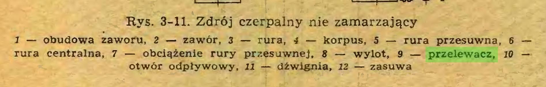 (...) Rys. 3-11. Zdrój czerpalny nie zamarzający I — obudowa zaworu, 2 — zawór, 3 — rura, 4 — korpus, 5 — rura przesuwna, 6 — rura centralna, 7 — obciążenie rury przesuwnej, 8 — wylot, 9 — przelewacz, 10 — otwór odpływowy, 11 — dźwignia, 12 — zasuwa...
