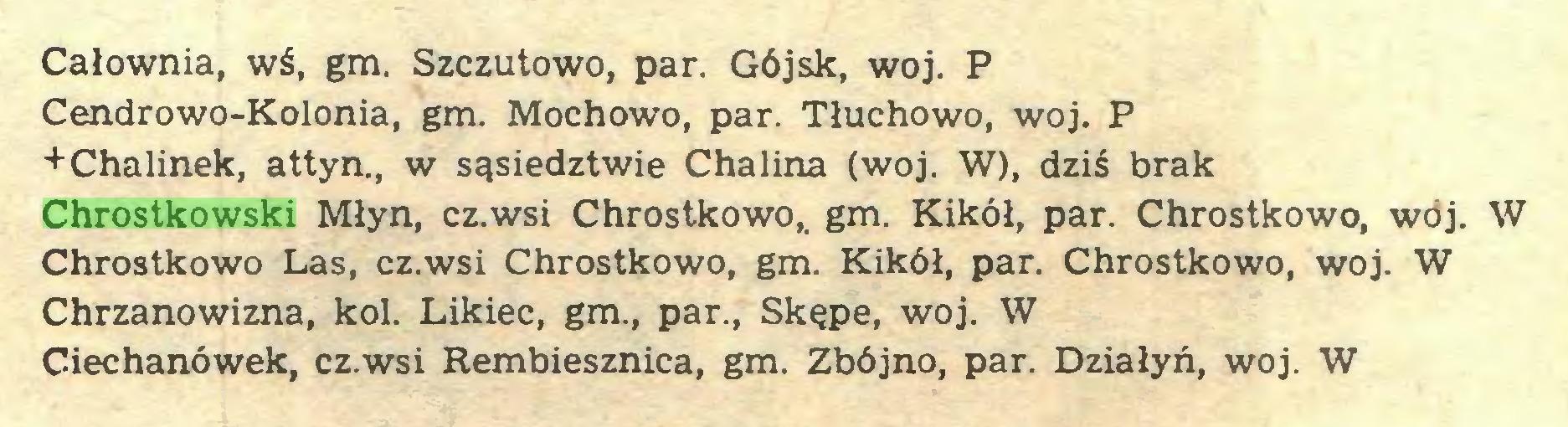 (...) Całownia, wś, gm. Szczutowo, par. Gójsk, woj. P Cendrowo-Kolonia, gm. Mochowo, par. Tłuchowo, woj. P +Chalinek, attyn., w sąsiedztwie Chalina (woj. W), dziś brak Chrostkowski Młyn, cz.wsi Chrostkowo,, gm. Kikół, par. Chrostkowo, woj. W Chrostkowo Las, cz.wsi Chrostkowo, gm. Kikół, par. Chrostkowo, woj. W Chrzanowizna, kol. Likiec, gm., par., Skępe, woj. W Ciechanówek, cz.wsi Rembiesznica, gm. Zbójno, par. Działyń, woj. W...