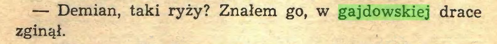(...) — Demian, taki ryży? Znałem go, w gajdowskiej drace zginął...