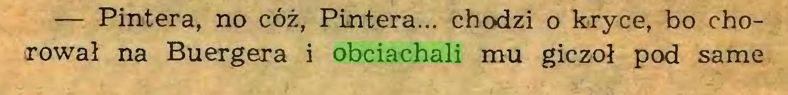 (...) — Pintera, no cóż, Pintera... chodzi o kryce, bo chorował na Buergera i obciachali mu giczoł pod same...